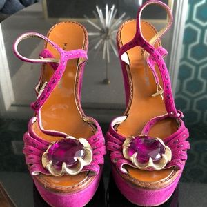 Marc by Marc Jacobs pink suede shoe chunk heels 37